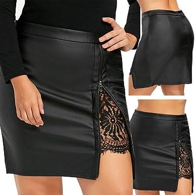 OHQ Jupe En Cuir Verni à Fermeture GlissièRe Noir Femmes Fashion Girls Dentelle  PlisséE Uniforme Jupes 7fe72af69b2a
