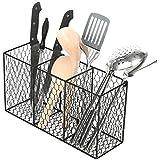 3 Compartment Rustic Chicken Wire Kitchen Utensil Holder Basket, Pantry Storage Rack, Black