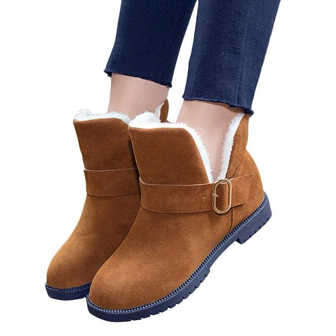 ❤ Botas Cortas de Invierno Mujer Cuñas, Zapatos Botas de Nieve Gamuza Hebilla Correa Botas Punta Redonda Mantener los Zapatos Calientes Absolute: ...