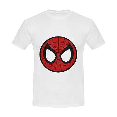 fighting cartoon spiderman face logo mens cool slim fit t shirt