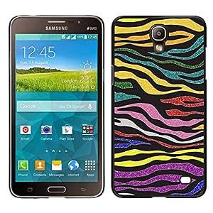 Caucho caso de Shell duro de la cubierta de accesorios de protección BY RAYDREAMMM - Samsung Galaxy Mega 2 - Rayas Oro Modelo púrpura