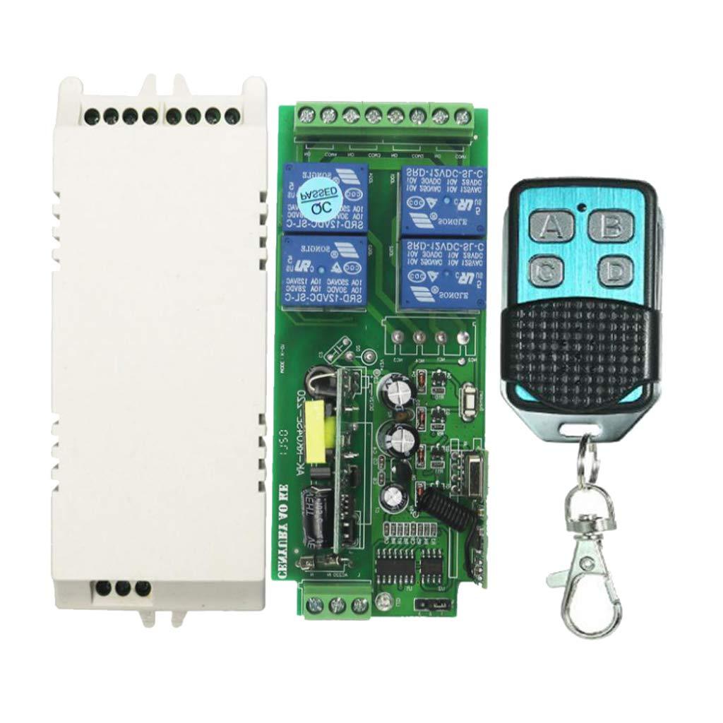 MagiDeal 4 Canales Interruptor de Control Remoto Inalá mbrico 220 V Có digo de Aprendizaje Inteligente para Electrodomé sticos 433mhz 4ch - 4 botó n tipo 3