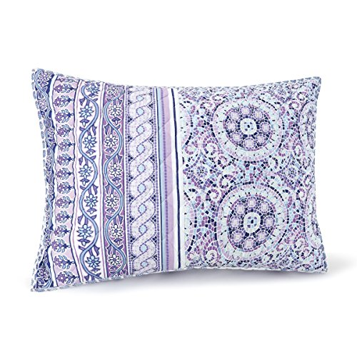 Jessica Simpson A038914PROHE Mosaic Border Quilt, Standard Sham, (Purple Mosaic)