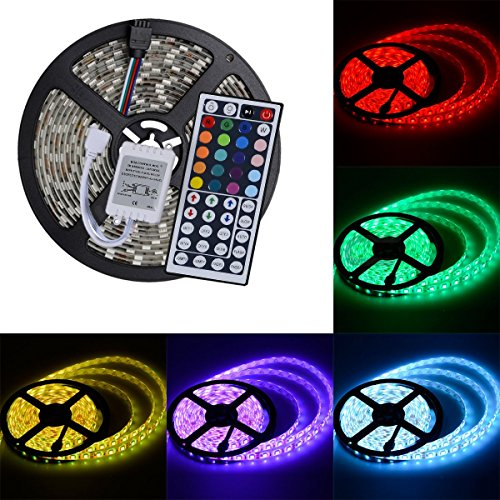elcPark 5M/16.4FT RGB Changing Color LED Strip Light + 44keys IR Remote (Power Conditioner Light Module)