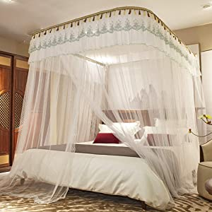 Elegant Bed Canopy,Princess Lace Canopy Net,4 Corner Curtain Canopy Bed Frame Drapes for Full Queen King Size Beds,Easy Installation-w 200x220cm(79x87inch)