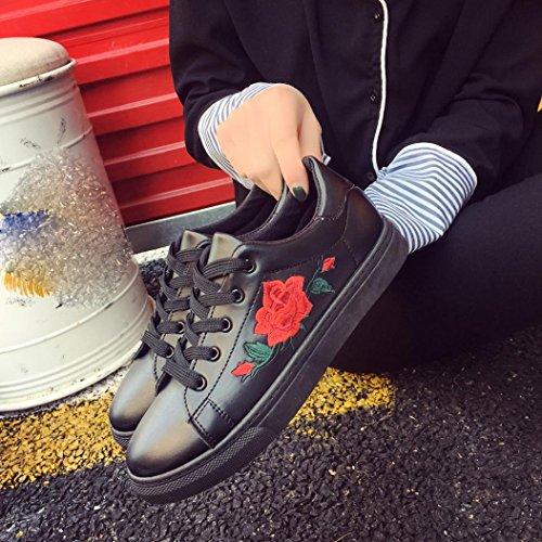 Ricamo Da Basse Sneakers Sportive Scarpe Donna Eleganti Scarpe Ginnastica Scarpe Donna Corsa Nero VICGREY Da Fiore Running Stringate Sneakers gwCq6Sx5H