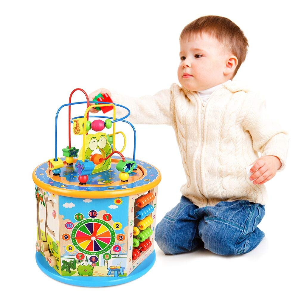 Titiyogo Wooden Activity Cube 8 in 1 Learning Toys for 1 Year Old Boys Girls Bead Maze Shape Sorter Educational Development Toy Gift for Kids