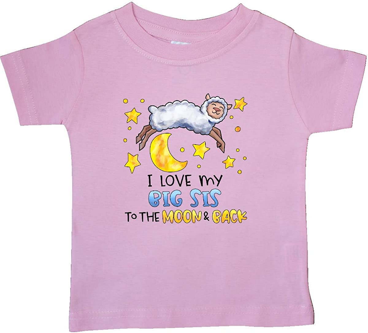 inktastic I Love My Big Sis to The Moon and Back Cute Sheep Baby T-Shirt