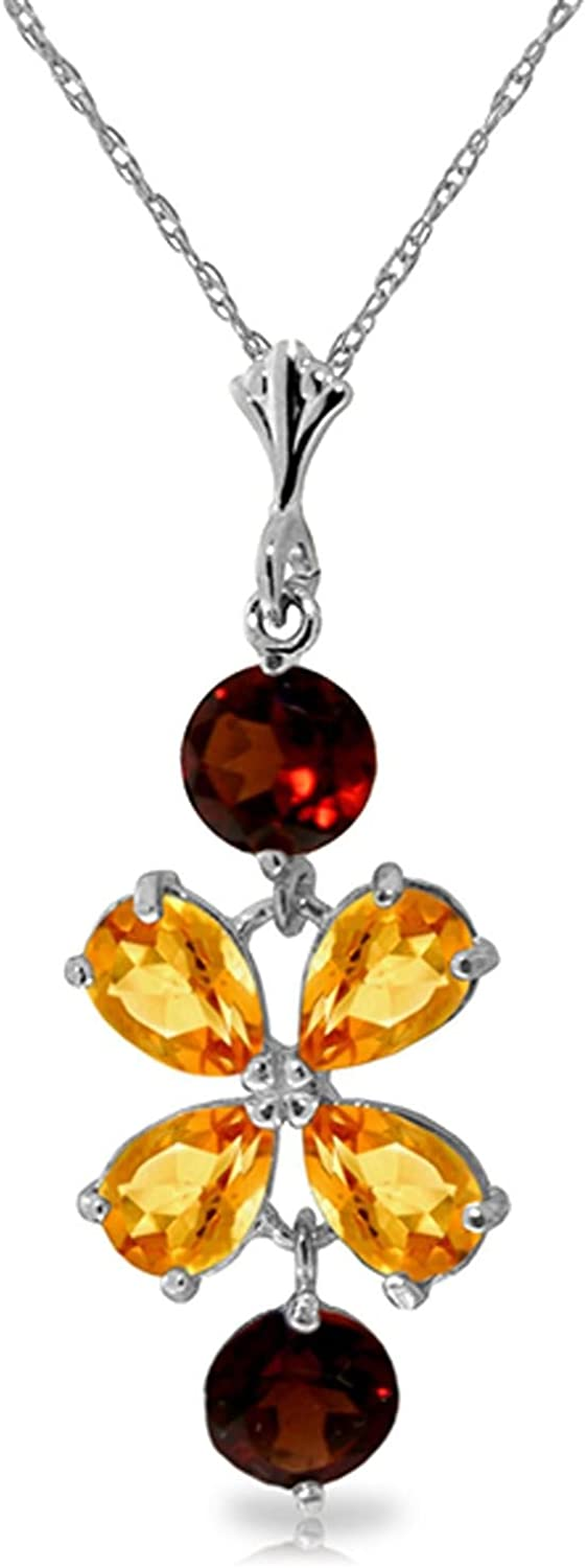 ALARRI 3.15 CTW 14K Solid White Gold Necklace Citrine Garneters with 20 Inch Chain Length