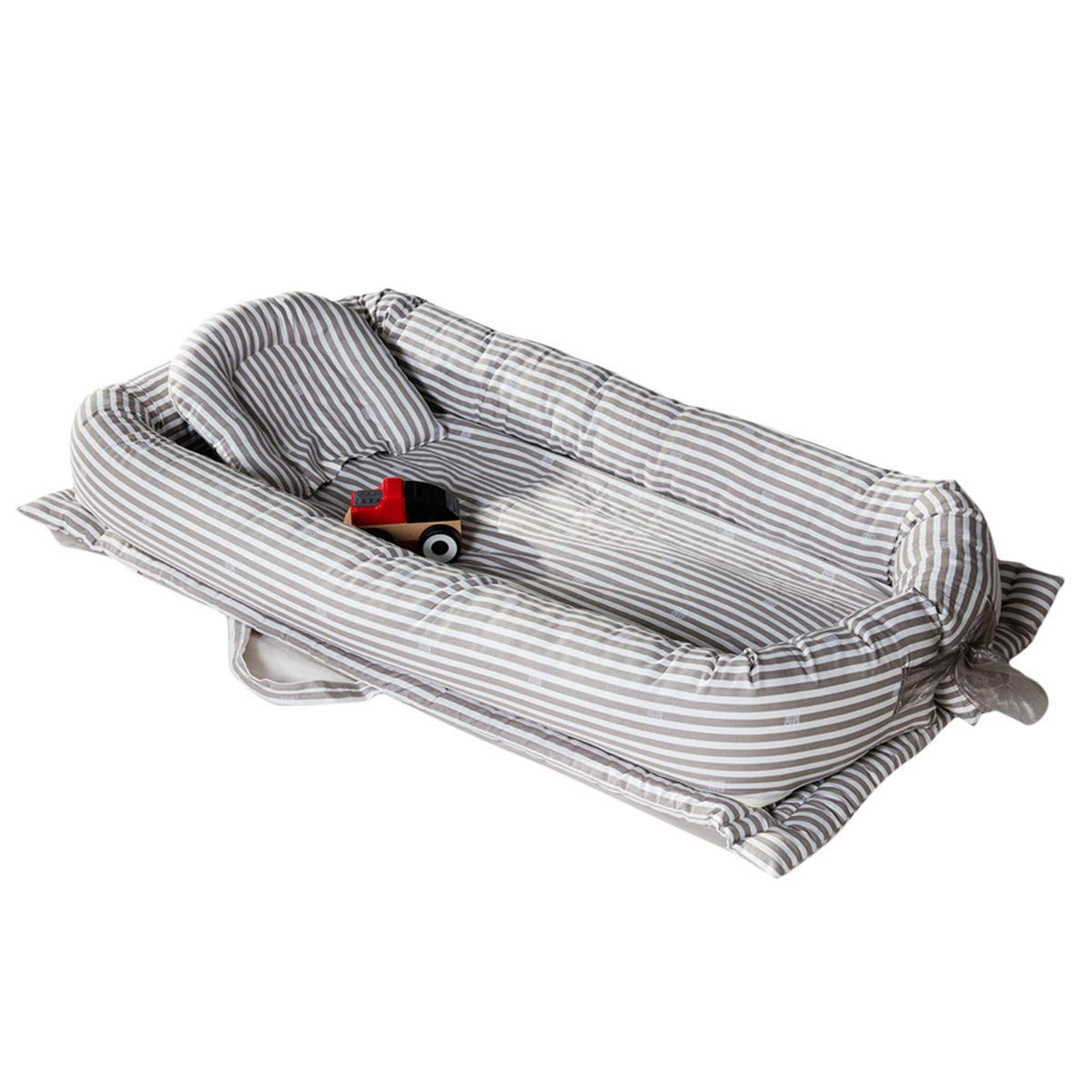 Mories Baby Bassinet for Bed, Newborn Portable Crib for Bedroom/Travel, Super Soft and Breathable Newborn Infant Bassinet (Gray) by Mories