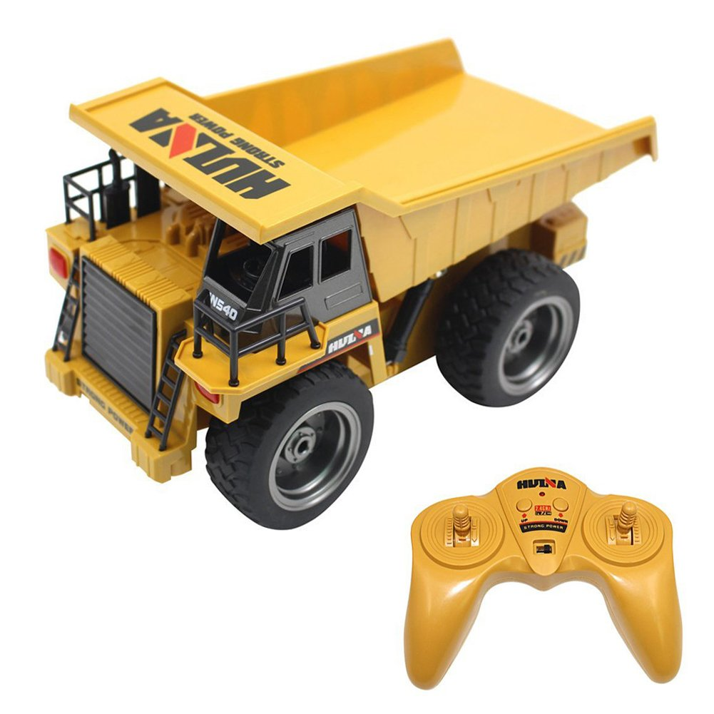 RC Dump Truck,Full Functional Remote Control Construction Vehicle Dump Truck Toy with Lights & Sounds for Kids