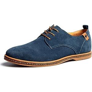 [DADIJIER] カジュアルシューズ スエード レースアップ メンズ 【カジュアル&ビジネス】 革靴 スニーカー シューズ ロンドン デザートブーツ 大きいサイズ(24.0m~28.0cm) (ブラック グレー ネイビー ブラウン) ネイビー 27.0cm