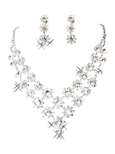 Bling Bling Elegant Designer Clear Crystal Diamante Exclusive Bridal Necklace and Earrings Jewellery Set nGK0z6l