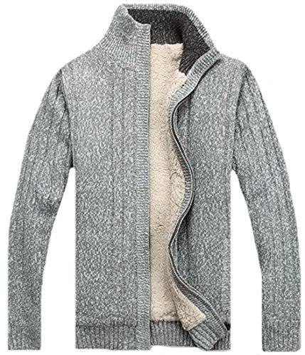 KXP Mens Vouge Zip-up Thicken Fleece-lined Knitted Sweaters Light gray - Mens Vouge