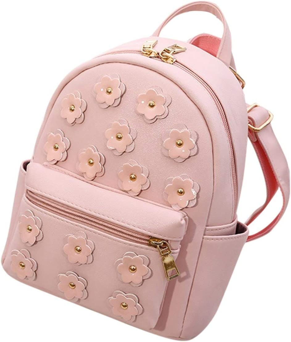 Women Mini Flower Print Backpack Shopping Travel School Bags Teenagers Small Double Shoulder Bag,Beige,12 Inches