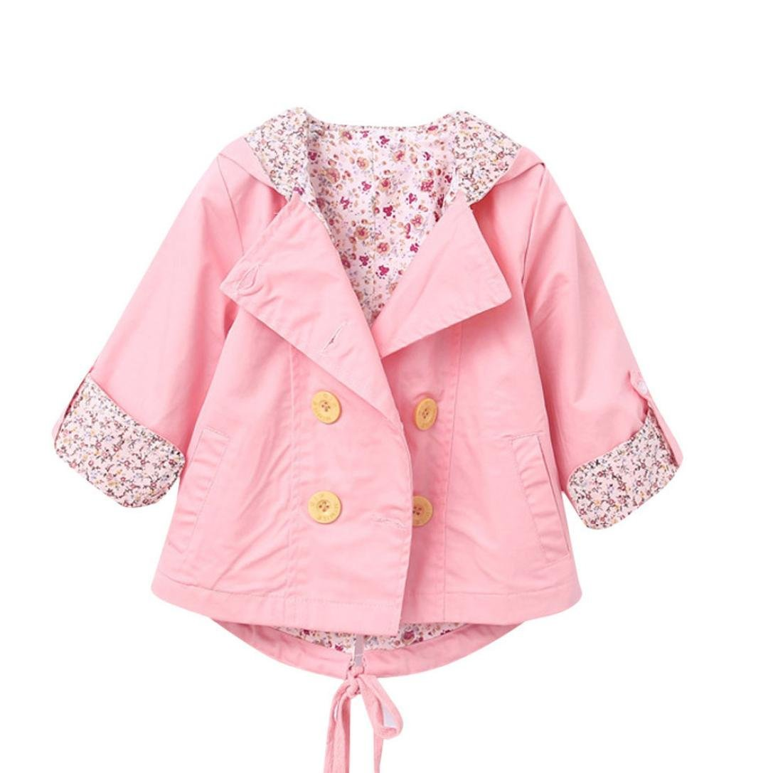 for 0-24 Months, Internet Baby Kid Girls Floral Print Coat Outerwear Windbreaker Baby Jackets Clothes Internet-63
