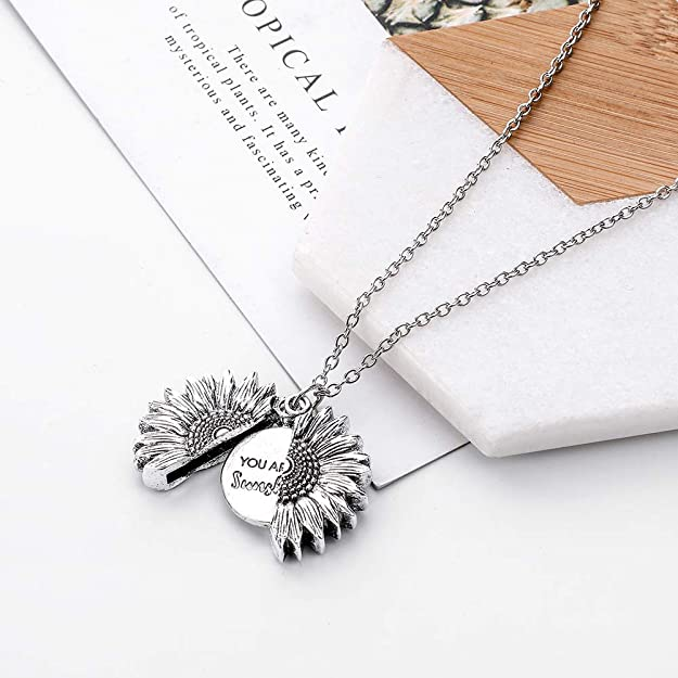 Lovastar Sunflower Locket Engraved Pendant Necklace You are My Sunshine Lettering Sun Flower Jewelry for Women Men