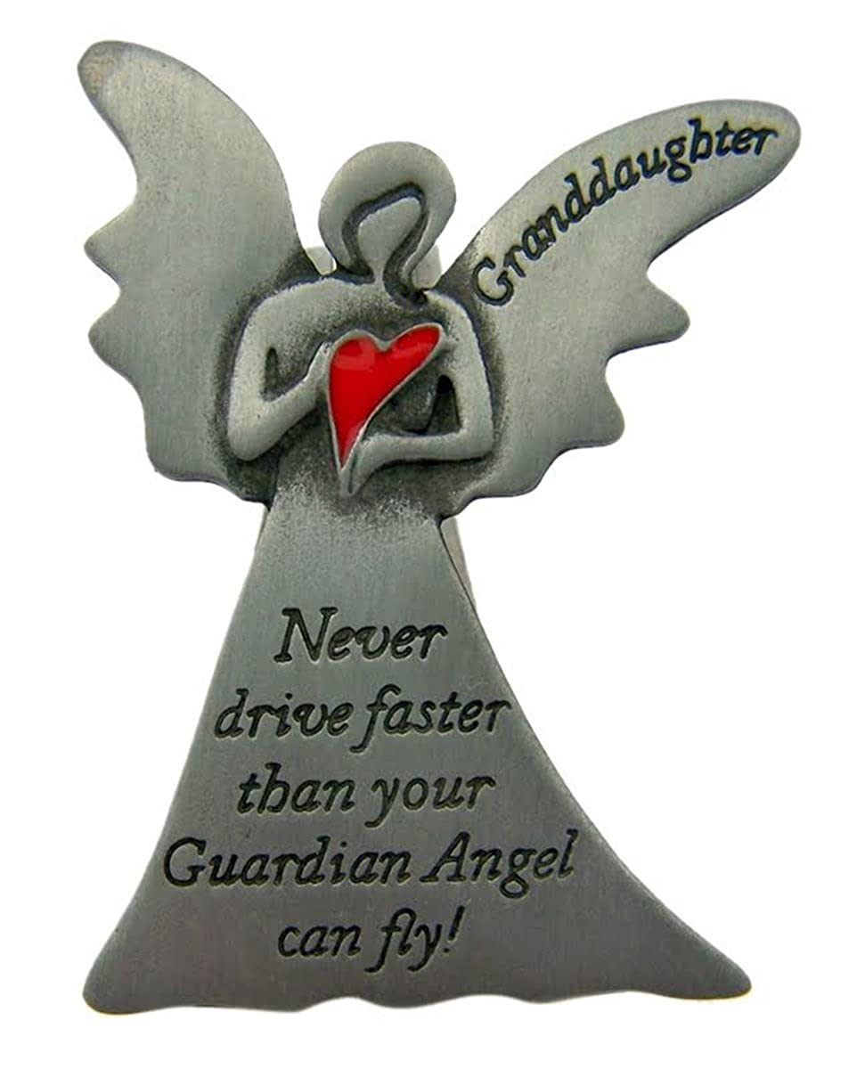 Pewter Guardian Angel Granddaughter Heart Visor Clip, 2 1/4 Inch