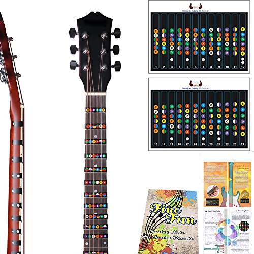 Guitar Fretboard Note Decals Fingerboard Frets Map Sticker for Beginner Learner Practice Fit 6 Strings Acoustic Electric Guitar For THE FULL GUITAR NECK all the way up to 24 (Frets Acoustic Guitar)