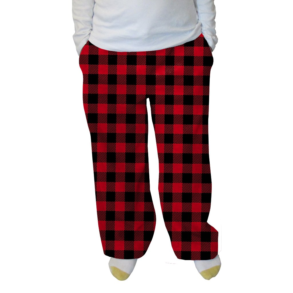 f653dddccd8 Grandma Pants Women s Buffalo Plaid Red And Black Adult Pant at Amazon  Women s Clothing store