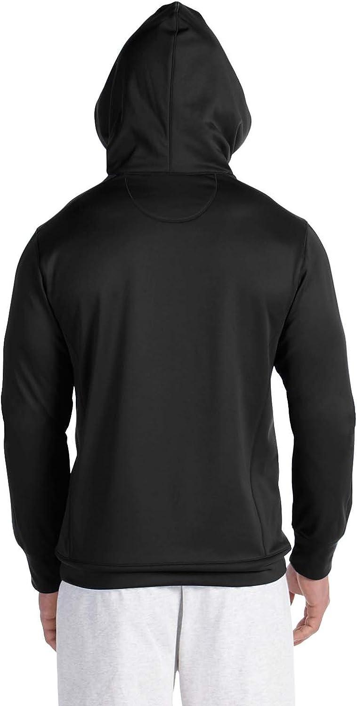 Champion mens 5.4 oz. Perfor Colorblock Pullover Hood (S220) Black/Black
