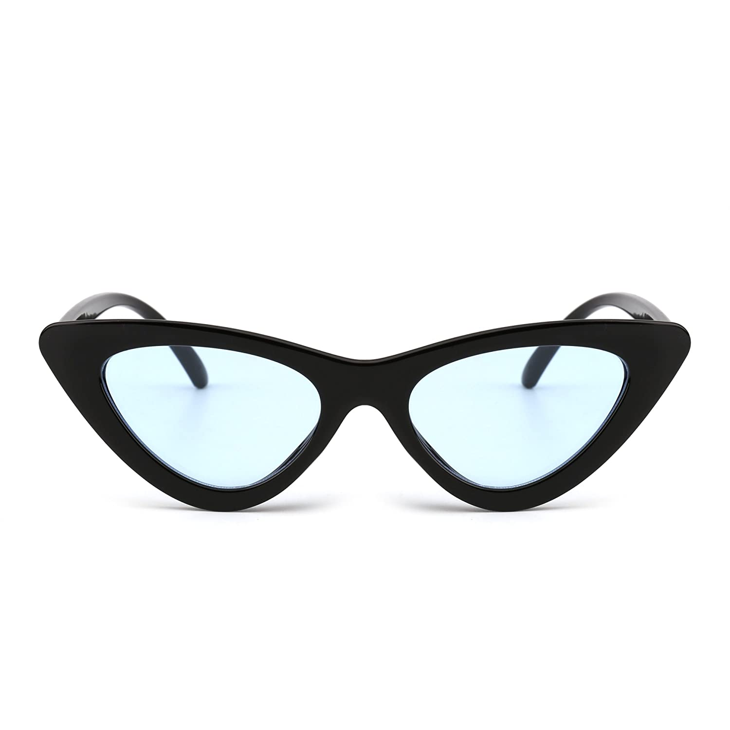53d5090354d4 Retro Clout Goggles Cateye Sunglasses Cute Cat Eye Plastic Shades Tinted  Lens Eyeglasses Women (Black/Blue): Amazon.co.uk: Clothing