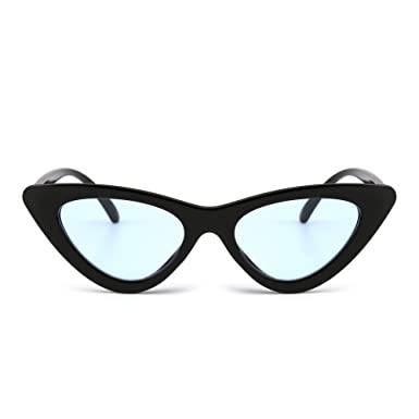 d6760a8e96b Retro Clout Goggles Cateye Sunglasses Cute Cat Eye Plastic Shades Tinted  Lens Eyeglasses Women (Black Blue)  Amazon.co.uk  Clothing