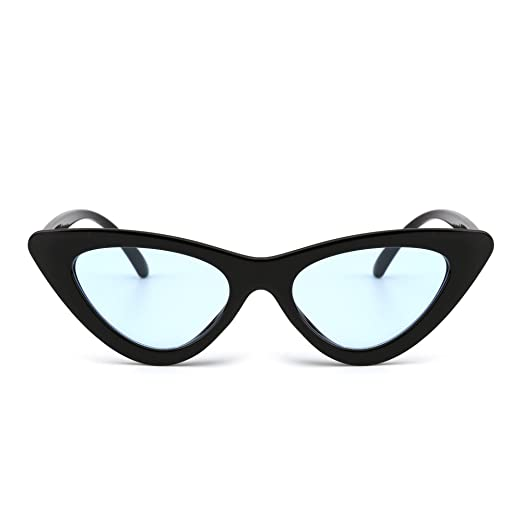 f058f5fd7071b Retro Clout Goggles Cateye Sunglasses Cute Plastic Tinted Lens Eyeglasses  Women (Black Blue)