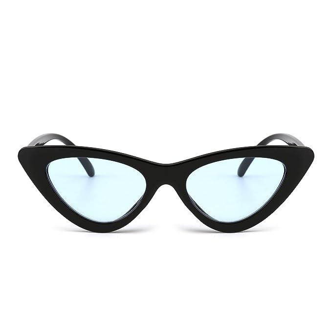 924e10ae7c Retro Clout Goggles Cateye Sunglasses Cute Plastic Tinted Lens Eyeglasses  Women (Black Blue)