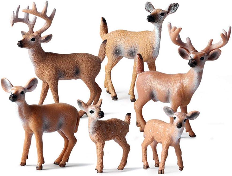 Gukasxi Deer Figurine Cake Topper, Deer Figurines Toys, Small Realistic Plastic Woodland Creatures Deer Family Figurines Set for Garden Home Christmas Decor (6 Pieces)