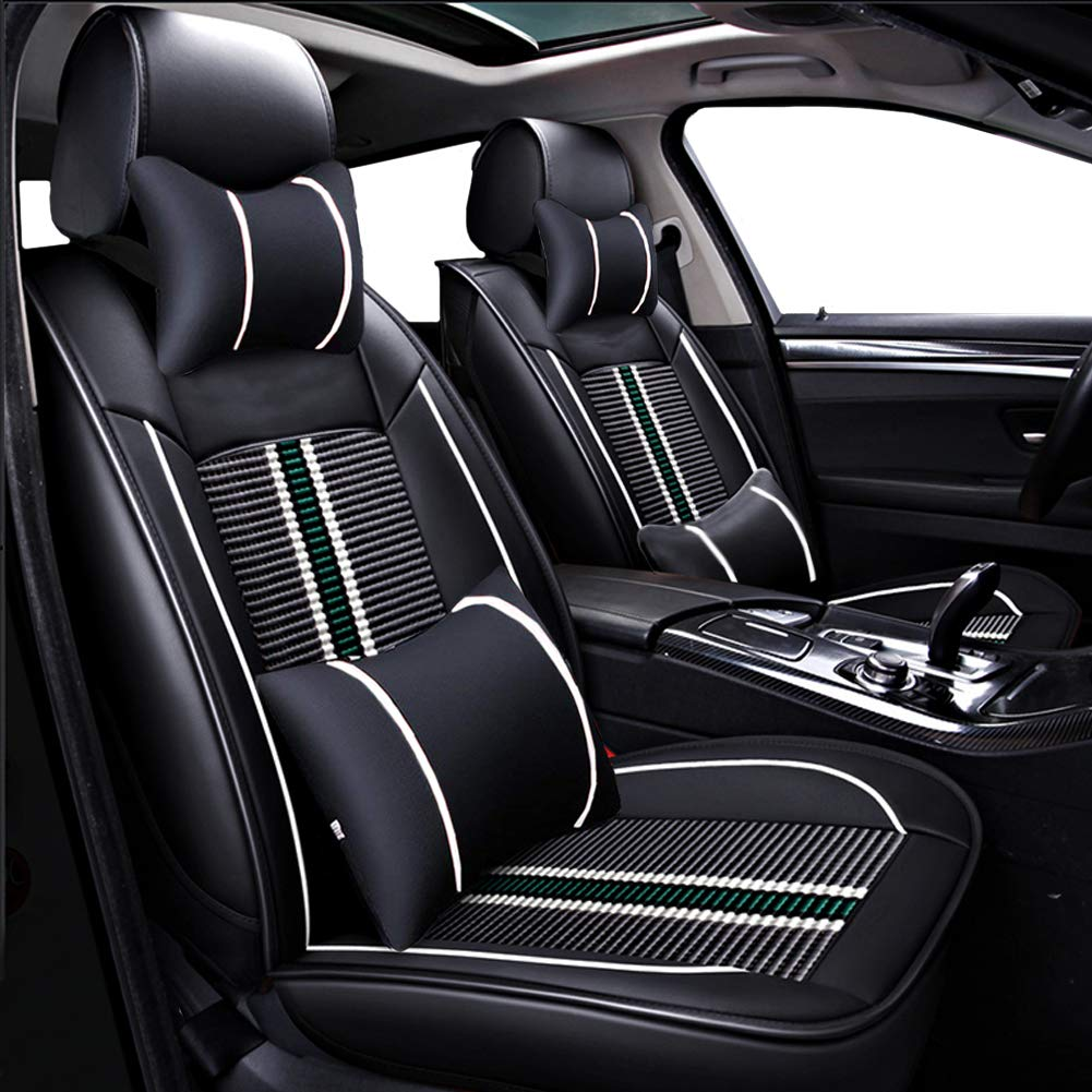 Big Ant Car Seat Covers, Leatherette Seat Covers Waterproof Breathable 5 Seats Full Set Front Back Cover 12 PCS - Fit Most Car, SUV, or Van (Black and Green)