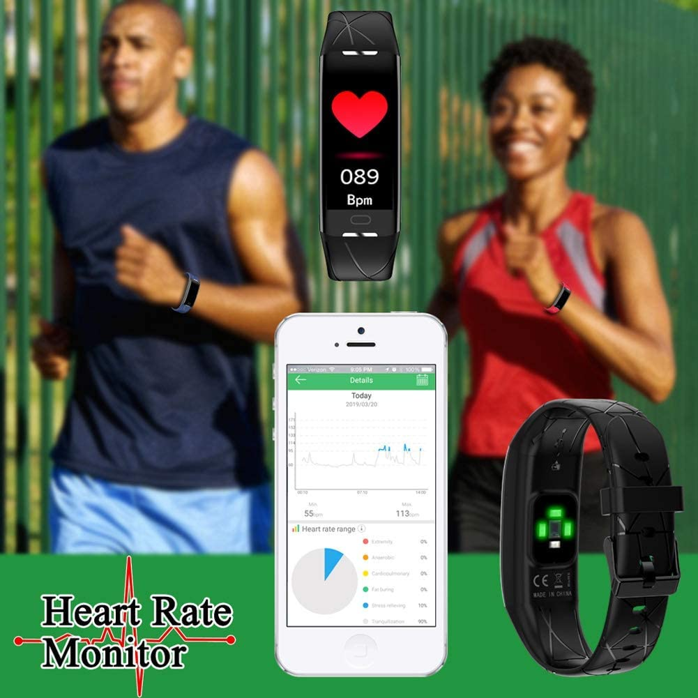 Fitness Tracker, Activity Tracker with Heart Rate Monitor, IP68 Waterproof Smart Watch Includes Step Counter, Calorie Counter, Pedometer for Men, Women, Kids by TopBest