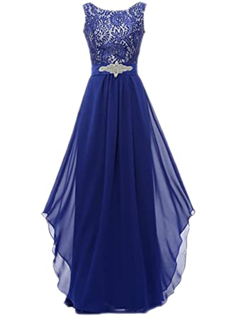 ASVOGUE Womens Floral Lace Paneled Asymmetric Prom Dress, Royal Blue M