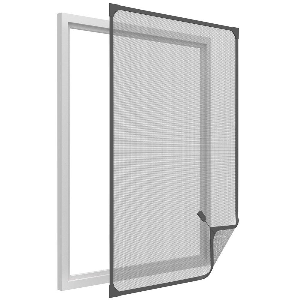 easy life Mosquitera para ventanas con cuadro magnético en PVC fácil de instalar - Sin necesidad de perforar y acortable individualmente, Color:Antracita, ...