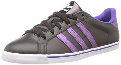 adidas Womens Court Star Slim Low Top Black Schwarz (Black/Black/Ray Purple