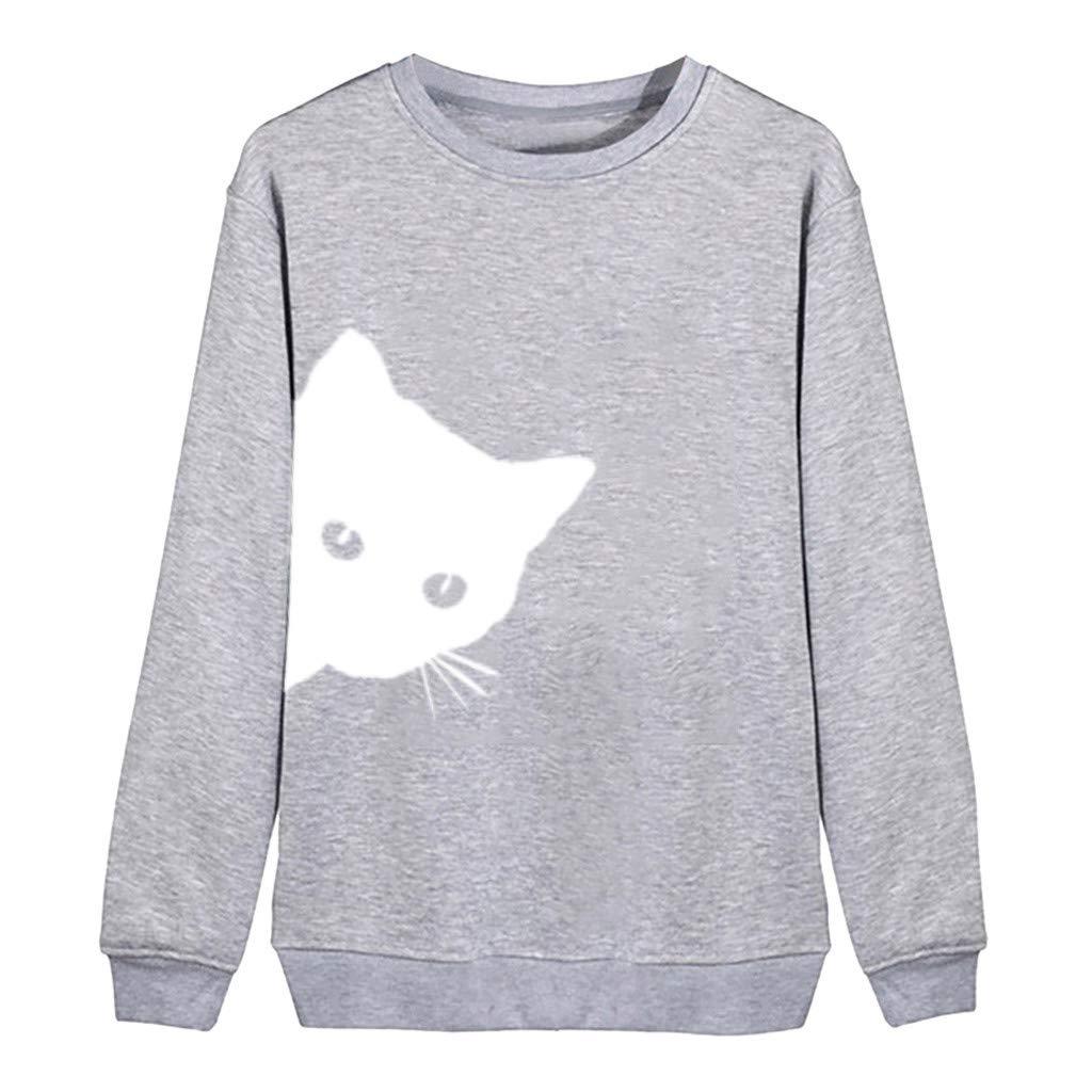 Yoyorule Autumn Pullover Top Women Printing Round Neck Long Sleeve Casual Blouse Sweatshirt