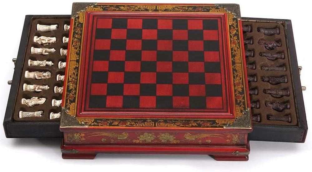 チェス盤 32Pcs /コーヒー木製テーブルヴィンテージグッズギフトアンティーク表で設定された樹脂チェスチェスの装飾 教育玩具 (色 : Red, Size : 26 x 25.5 x 6.5cm)