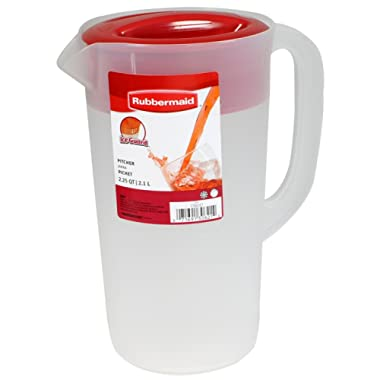 RUBBERMAID Covered Pitcher 2.25 qt - White with Red Cover