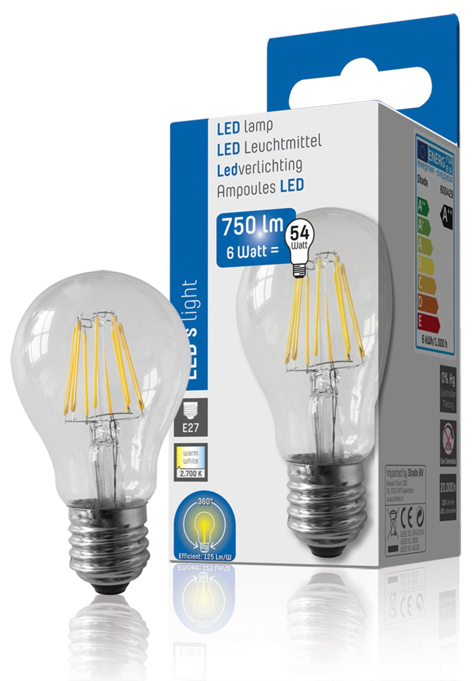 NCC-Licht LED Filament Glühbirne 6 - 60 W E27 Glühlampe Glühfaden ...