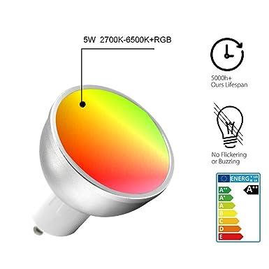 GU10 Bombilla Wifi Inteligente, Avatar Controls Inalambrica Dimmable 5w RGB LED Lámpara Control Remoto Compatible con Amazon Alexa / Google Assistant ...