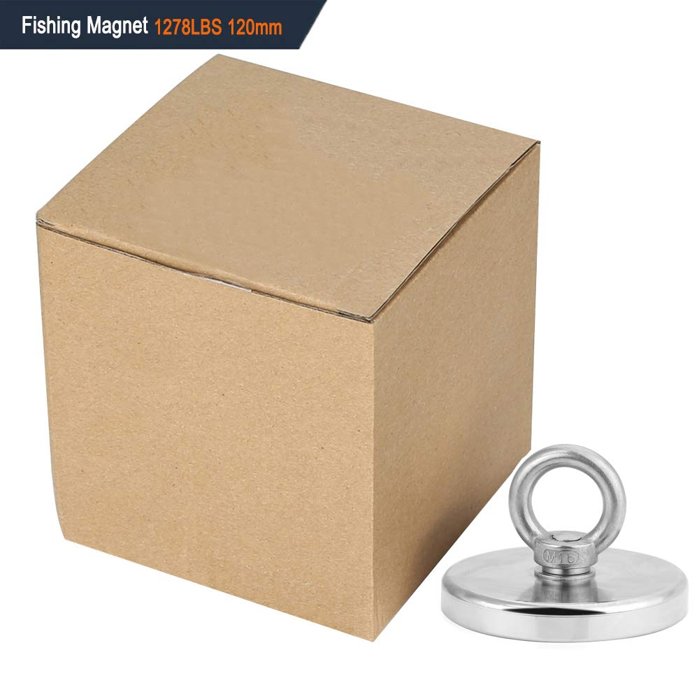 for Salvage in River or Fishing CHINA 32mm 68 LBS Pulling Force Super Powerful Round Neodymium Magnet with Countersunk Hole and Eyebolt Diameter 1.26INCH