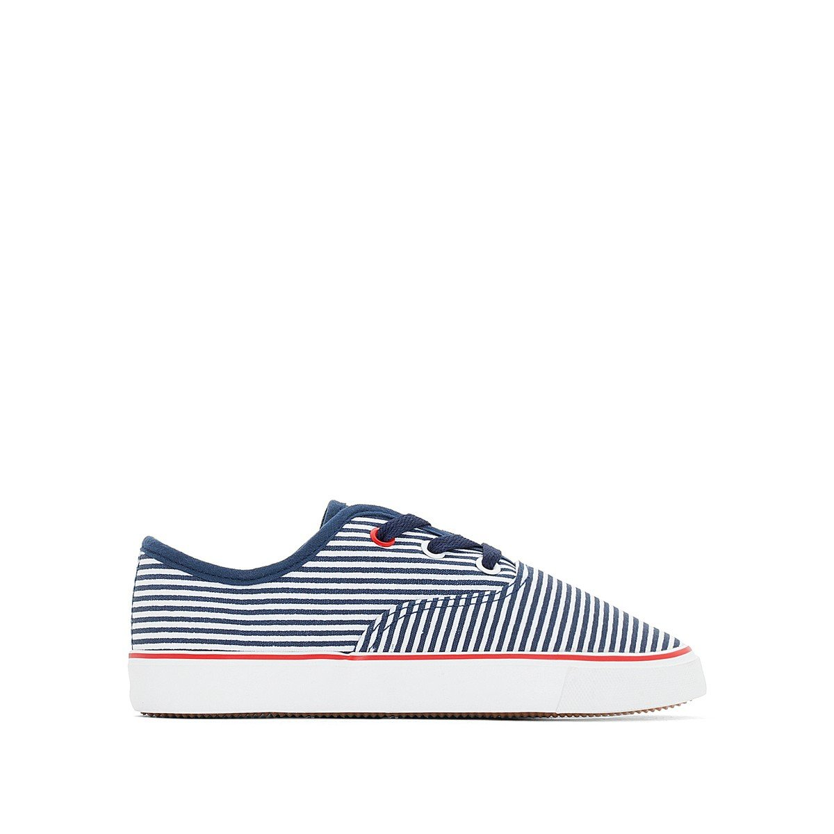 La Redoute Collections Big Boys Striped Canvas Trainers Blue Size 34