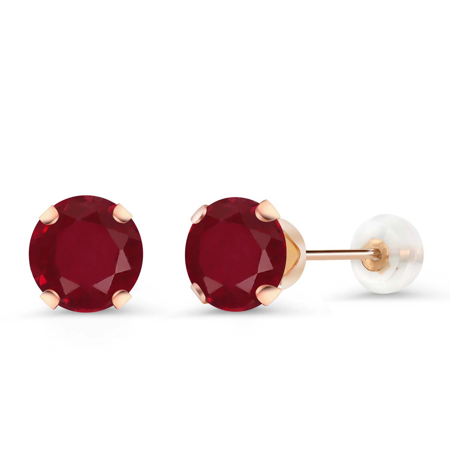 2.00 Ct Round 6mm Red Ruby 10K Rose Gold Stud Earrings