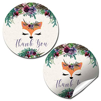 "Woodland Forest Fox Face Floral Themed Thank You Sticker Labels for Kids, 40 2"" Party Circle Stickers by AmandaCreation, Great for Party Favors, Envelope Seals & Goodie Bags: Kitchen & Dining"
