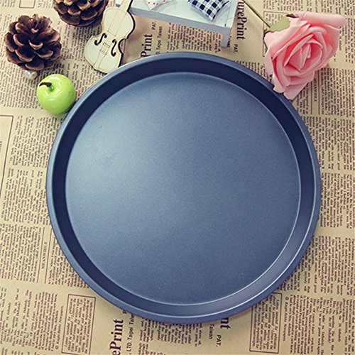 Meleg Otthon Heavy Duty 10 inch Shallow Dish Round Pizza Pan Carbon Steel, Pizza Tray Nonstick ,Professional Pizza Serving Plates Trays(10-inch shallow pan)