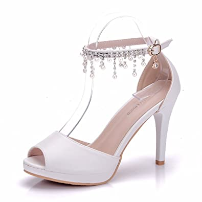 7eeb29d17c435 VINEIL Peep Toe Women Ankle Strap High Heels Sandals Platform Shoes White  Pearls Chain Tassel Party Evening Dress Wedding Shoes