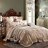 CASA Sateen Jacquard Bedding series 325 thread count Duvet cover & Pillow cases & Flat sheet,Duvet cover set,Super Soft,4 Pieces,Queen