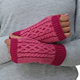 TrailHeads Cable Knit Women's Hand Warmers - Light Rose/Raspberry