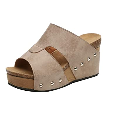 a65768bcb Womens Summer Sandal Wedges Boho Flip Flops Platform Rivet Beach Shoes  Thick Bottom Slippers (Beige