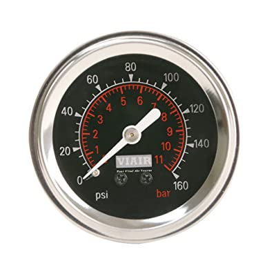"VIAIR 90088 Black Face 2"" 160 PSI Illuminated Single Needle Gauge: Automotive"